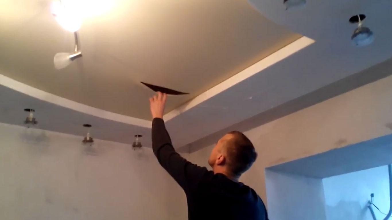 Ремонт пореза на натяжном потолке - Невадо 14